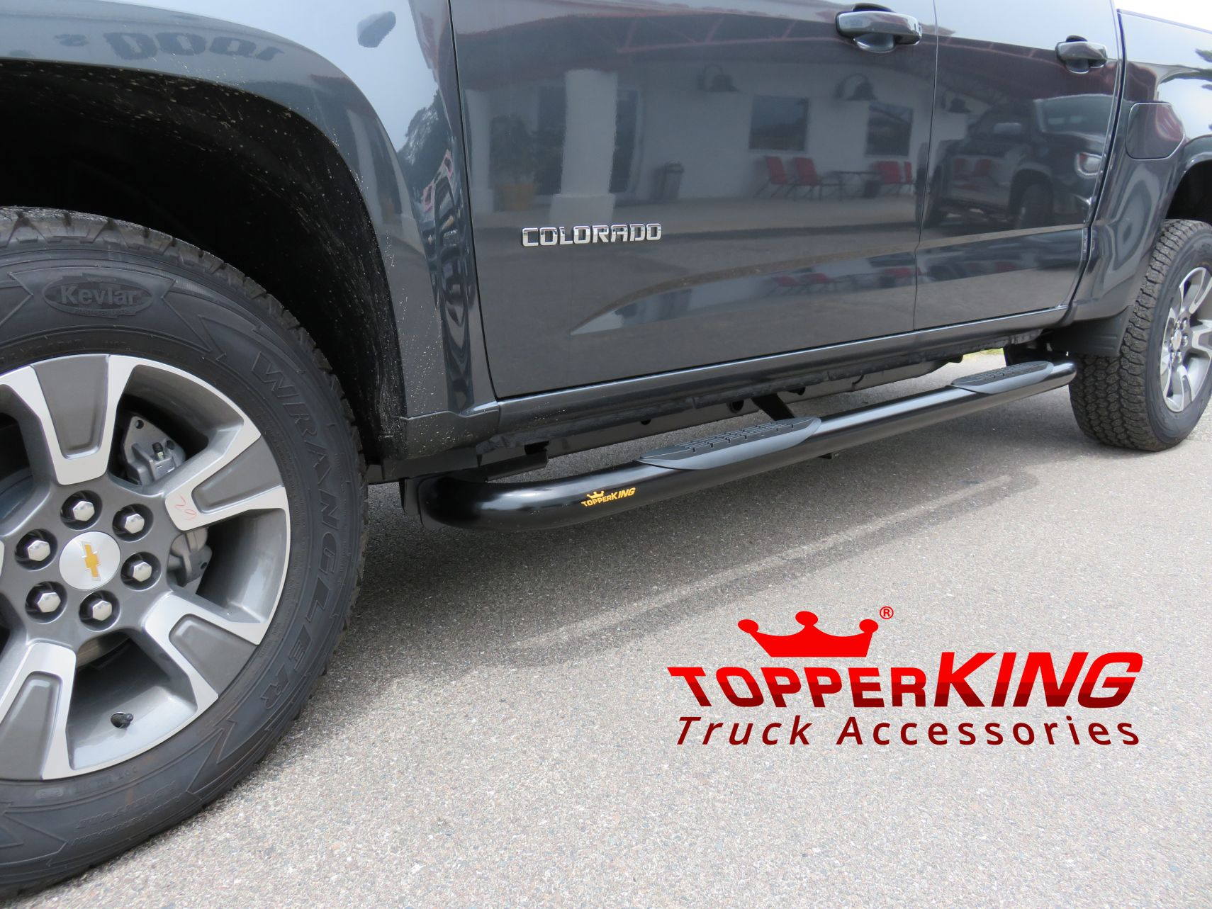 Chevy Colorado Black 3 inch Nerf Bars by TopperKING in Brandon, FL 813-689-2449 Call today to start on your truck!