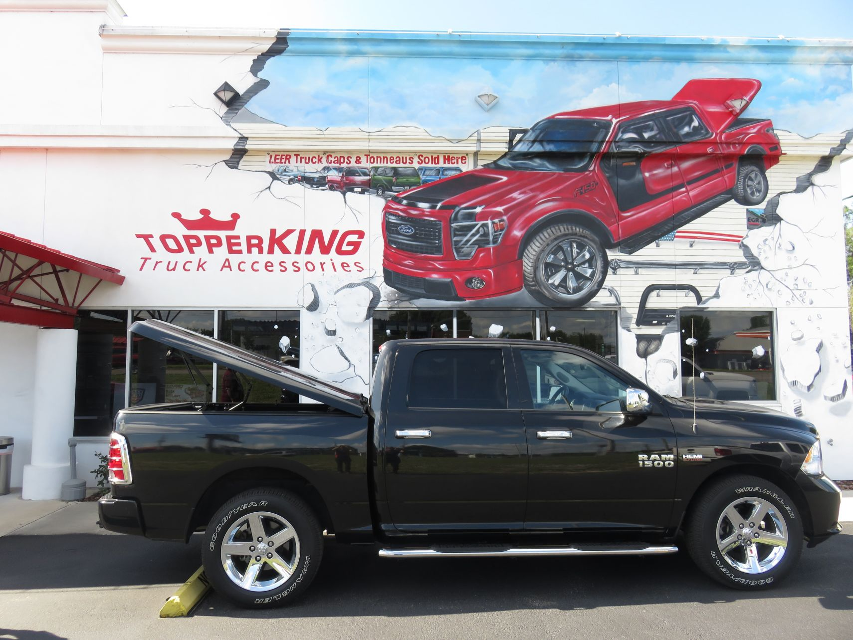 2018 Dodge RAM 1500 LEER 700, Nerf Bars, Chrome, and a Custom Hitch by TopperKING in Brandon, FL 813-689-2449 or Clearwater, FL 727-530-9066. Call today!