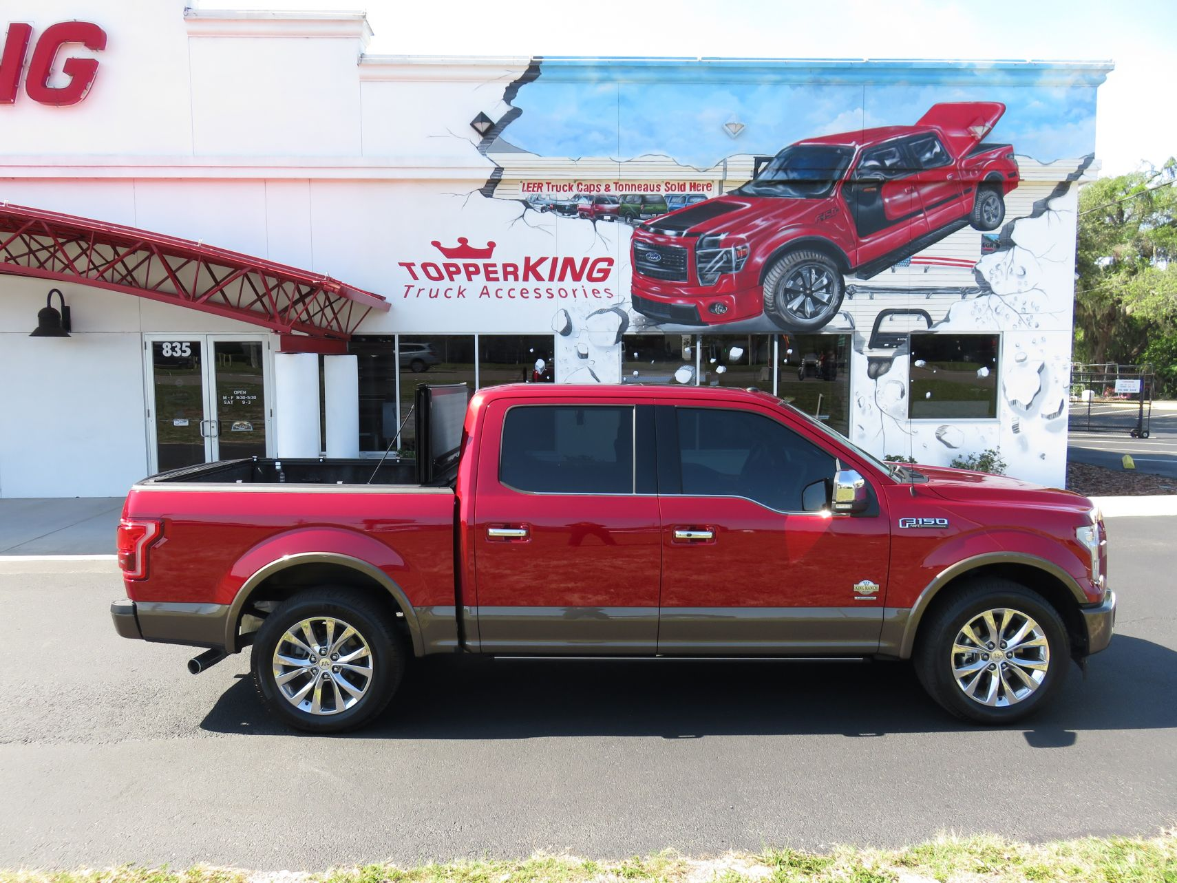 2018 ruby red ford f150 leer x2t tint and chrome accessories by topperking in