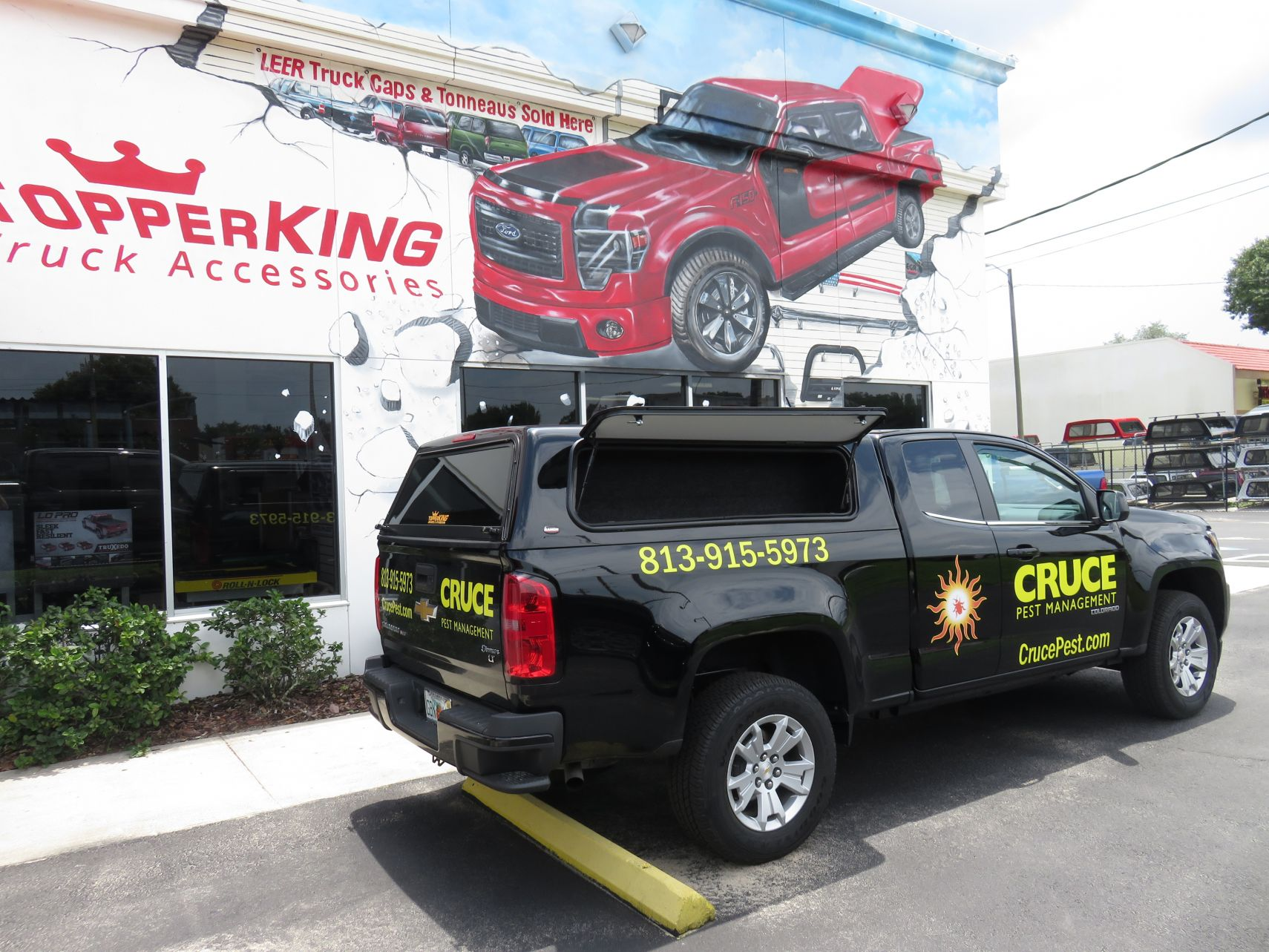 2018 Black Chevy Colorado Ranch Sierra Windoors and Window Tint by TopperKING in Brandon, FL 813-689-2449 or Clearwater, FL 727-530-9066. Call today!