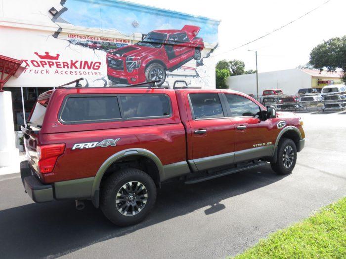 2018 Red Nissan Titan Xd Leer 100r Roof Racks Topperking