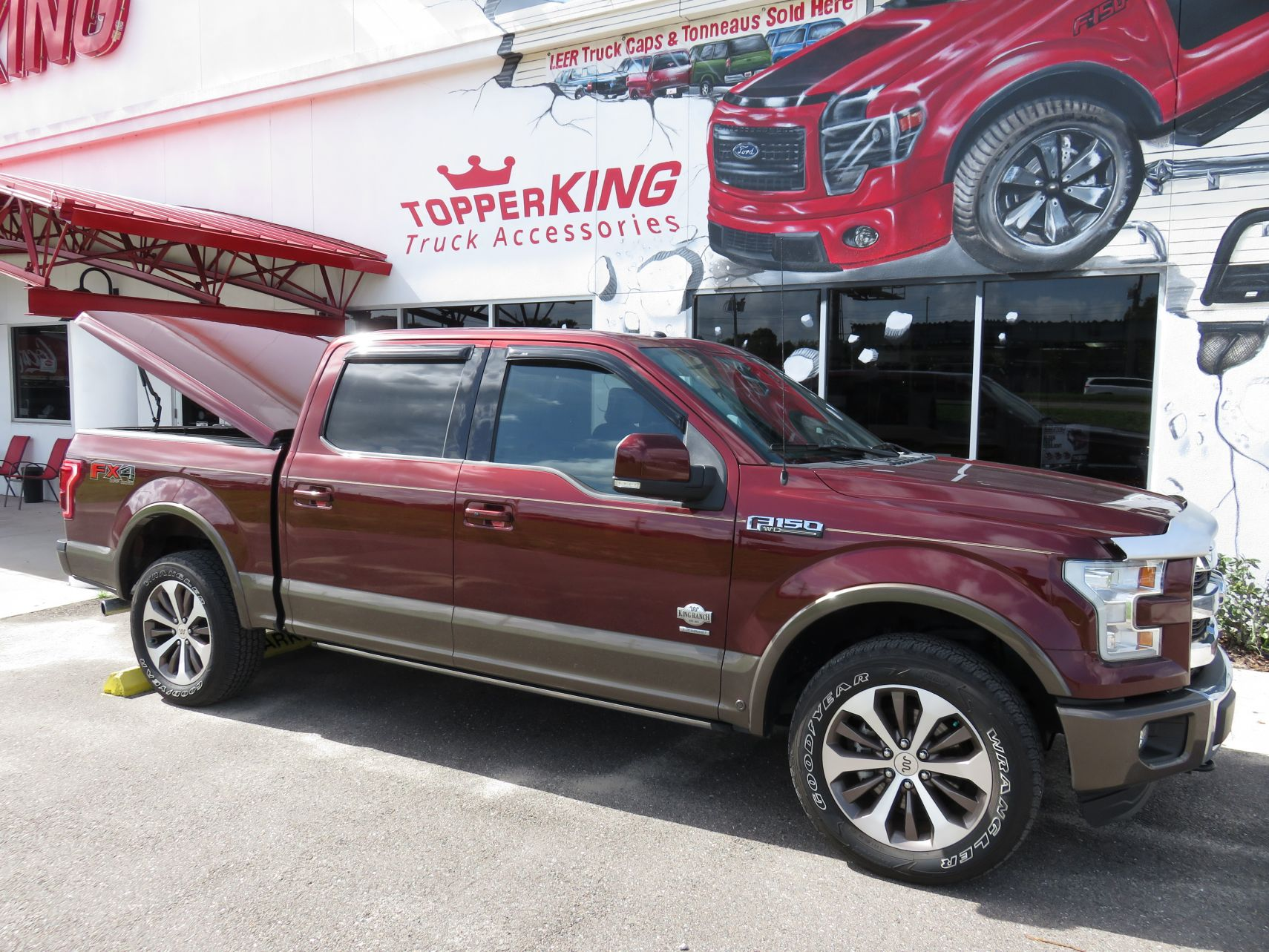 2016 Ford F150 LEER 550 Hitch, Vent Visors, Bedliner, Nerf Bars, Tint by TopperKING in Brandon, FL 813-689-2449 or Clearwater, FL 727-530-9066. Call today!