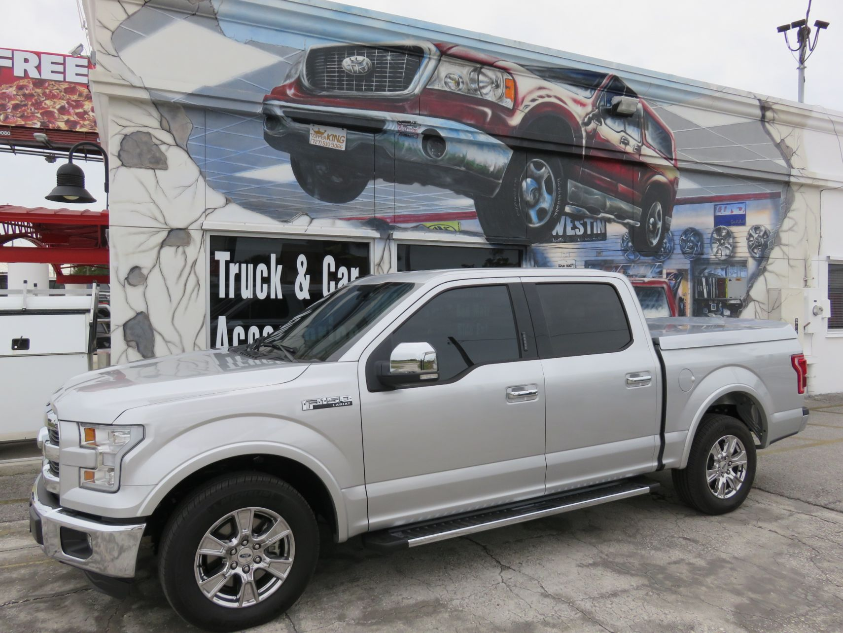 2016 Silver Ford F150 LEER 750 Sport, Nerf Bars, Tint by TopperKING in Brandon, FL 813-689-2449 or Clearwater, FL 727-530-9066. Call today to start!