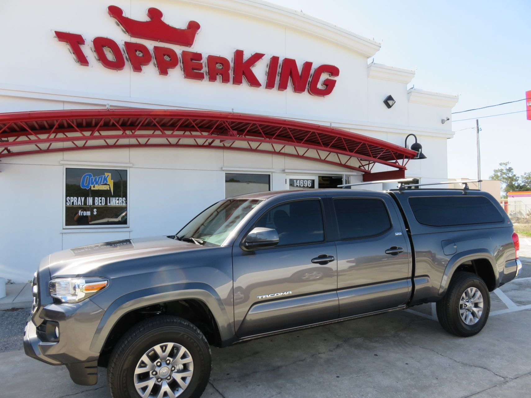2018 Toyota Tacoma LEER 100XQ, Roof Racks, Tint by TopperKING in Brandon, FL 813-689-2449 or Clearwater, FL 727-530-9066. Call today to start on your truck!