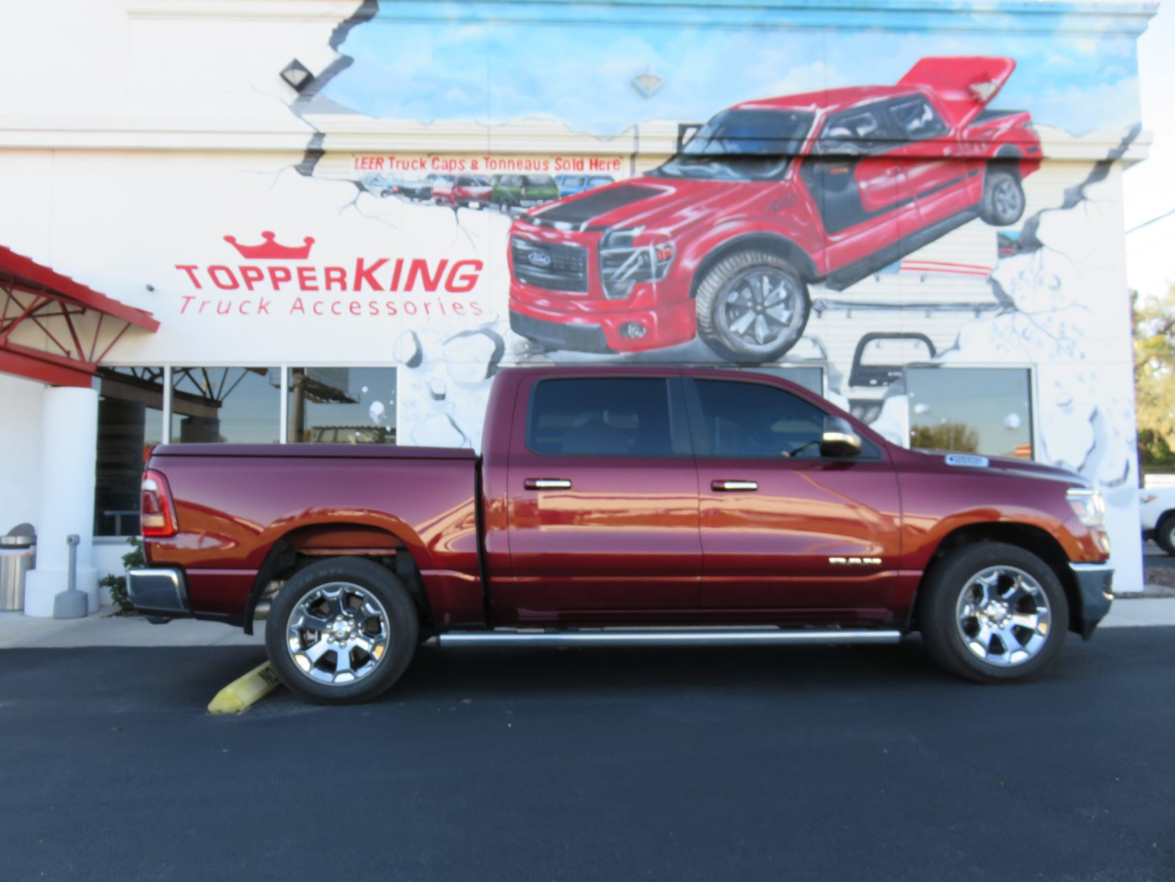 2019 Red Dodge Ram 1500 LEER 550, Custom Hitch, Running Boards, and Tint by TopperKING in Brandon, FL 813-689-2449 or Clearwater, FL 727-530-9066. Call now!
