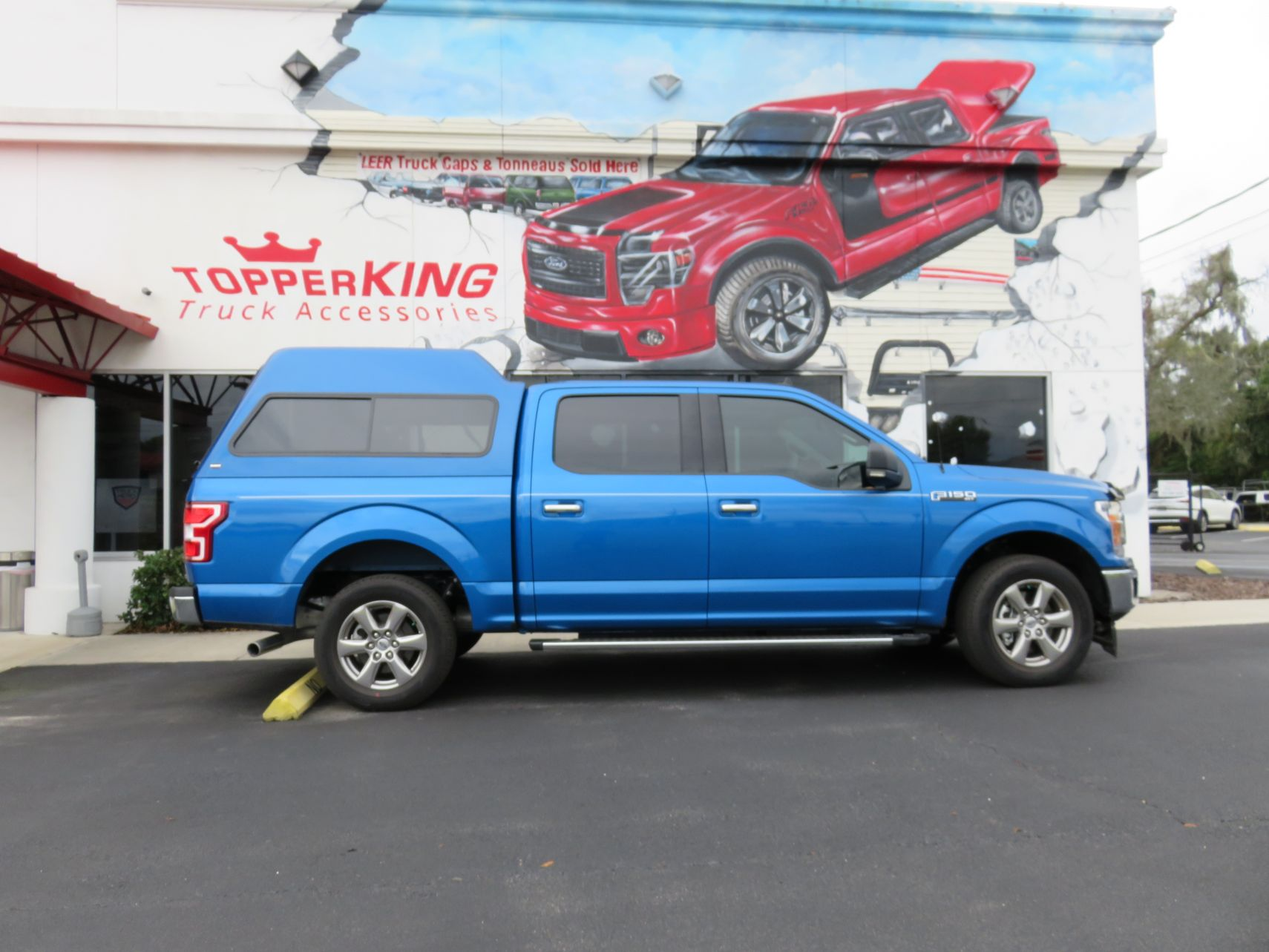 2018 Blue Ford F150 Ranch Supreme, Hitch, Bug Guard, Tint by TopperKING in Brandon, FL 813-689-2449 or Clearwater, FL 727-530-9066. Call today to start!