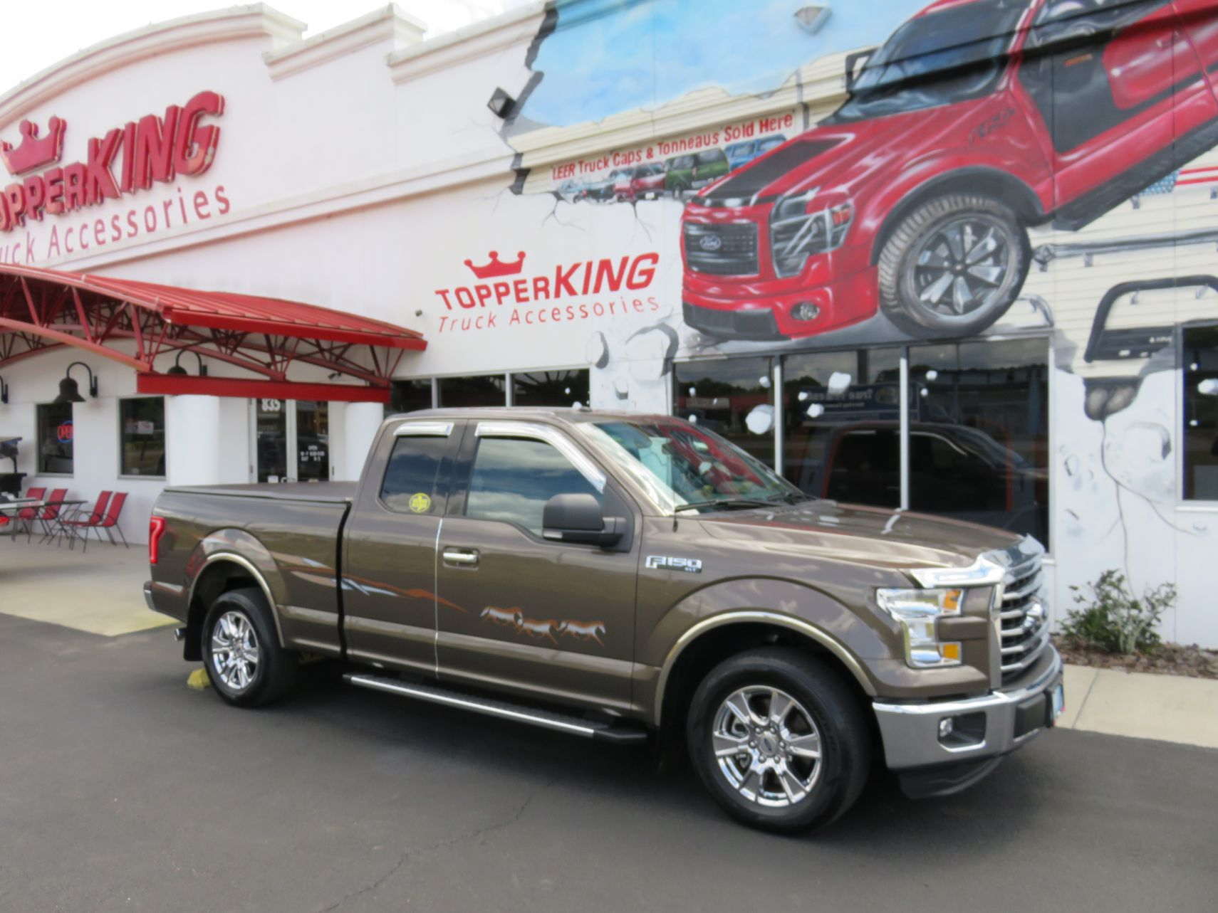 2016 Brown Ford F150 Chrome, Horse Graphic, Vent Visor, Tonneau Cover, Bug Guard by TopperKING in Brandon 813-689-2449 or Clearwater FL 727-530-9066. Call!