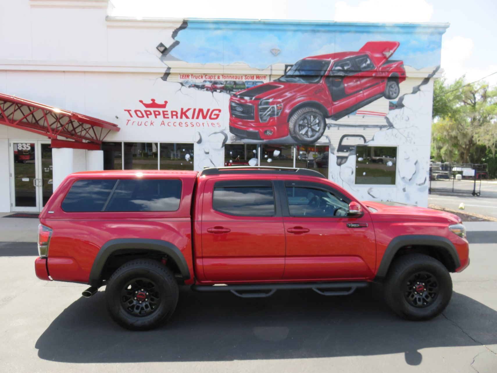 2019 Red Toyota Tacoma Ranch Icon Blackout Nerf Bars Roof Racks Hitch