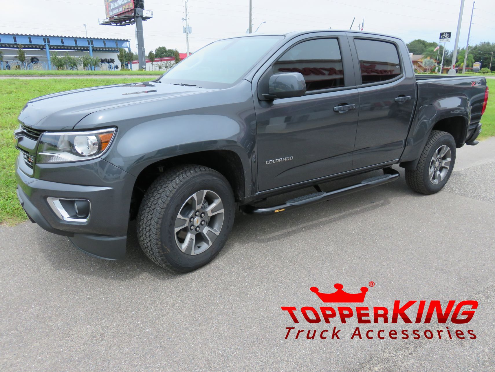 grey chevrolet colorado with black out nerf bars topperking topperking providing all of. Black Bedroom Furniture Sets. Home Design Ideas