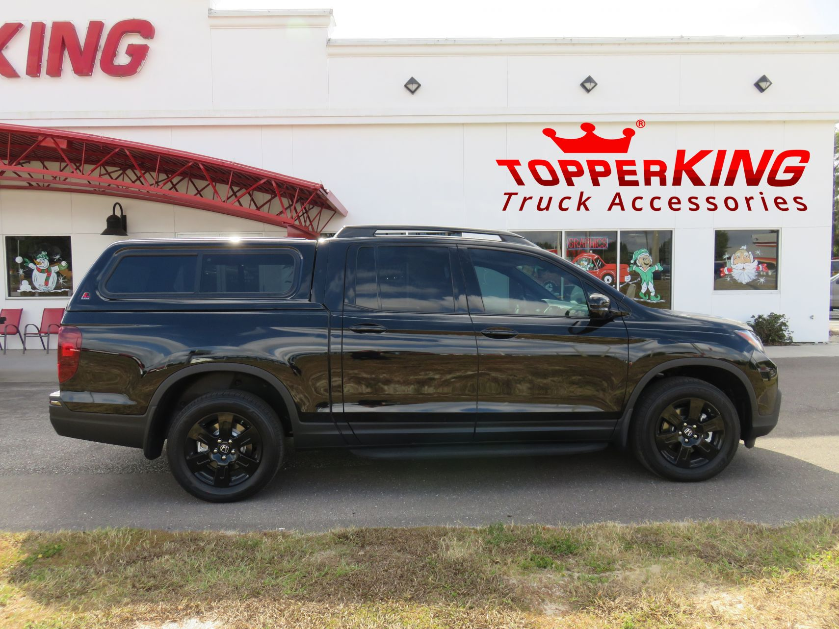 2017 Honda Ridgeline LEER 100XR with running boards, roof racks, and a custom hitch by TopperKING in Brandon, FL 813-689-2449 Call today to start on your truck!