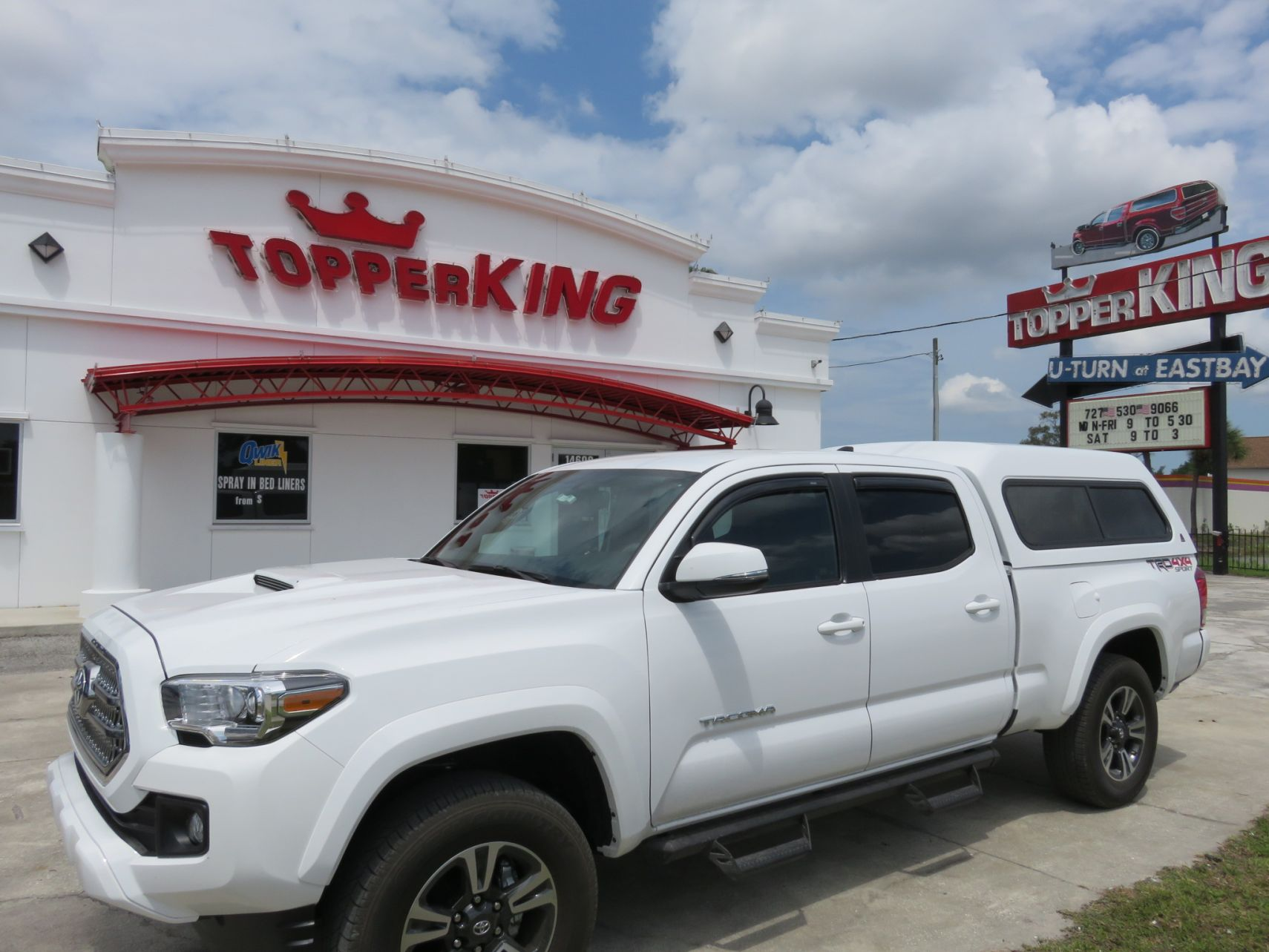 2017 Toyota Tacoma LEER 180, Drop Down Side Steps, Vent Visors, Tint, Hitch by TopperKING Brandon 813-689-2449 or Clearwater FL 727-530-9066.