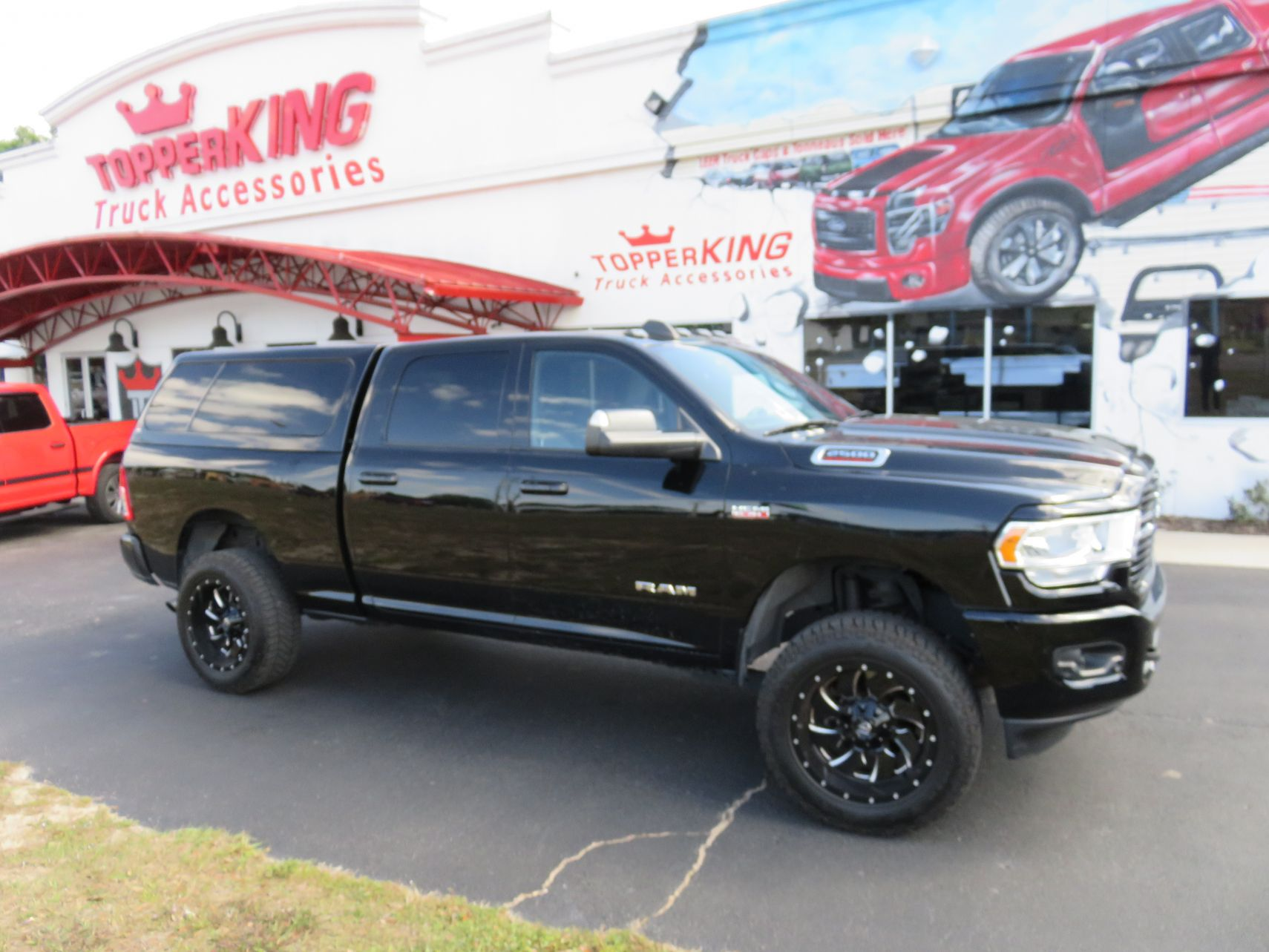 2020 Dodge RAM with LEER100XL Fiberglass Topper, Tint, Hitch by TopperKING Brandon 813-689-2449 or Clearwater FL 727-530-9066. Call us today!