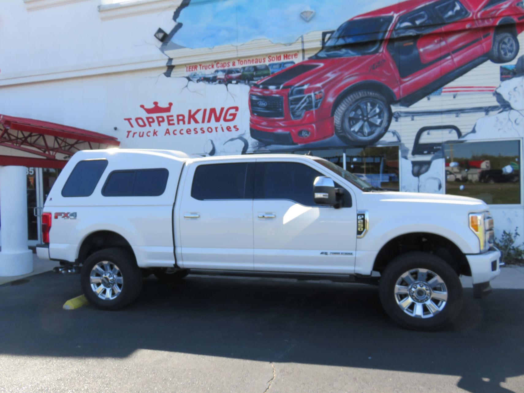 2020 Ford F250 with LEER 122 Fiberglass Cap, Chrome, Hitch, Tint by TopperKING Brandon 813-689-2449 or Clearwater FL 727-530-9066. Call Us!