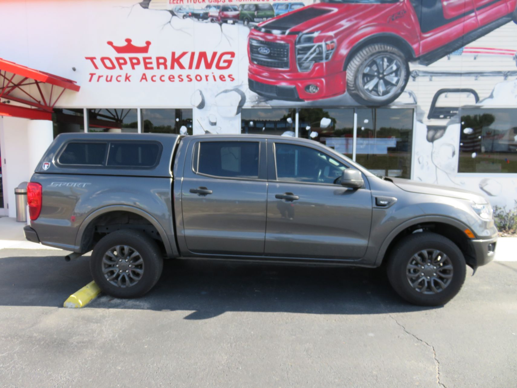 2020 Ford Ranger with TK Defender Fiberglass Topper, Hitch, Tint by TopperKING Brandon 813-689-2449 or Clearwater FL 727-530-9066. Call Us!