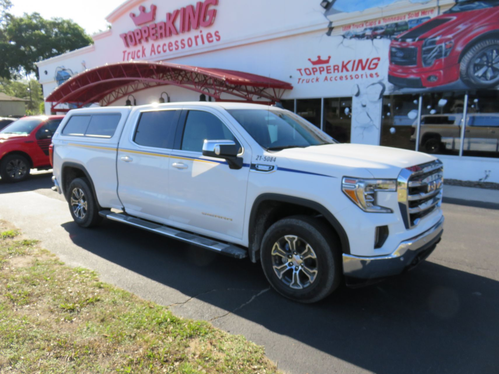 2020 GMC Sierra with TK Defender, Hitch, Running Boards, Chrome by TopperKING Brandon 813-689-2449 or Clearwater FL 727-530-9066. Call today!